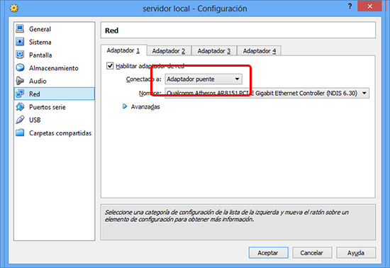 Servidor local con virtualbox - configurar la red