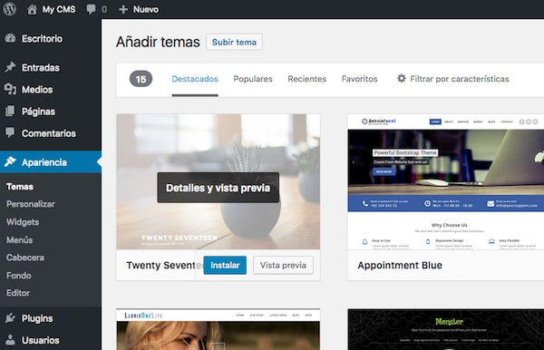 Administrar temas en WordPress